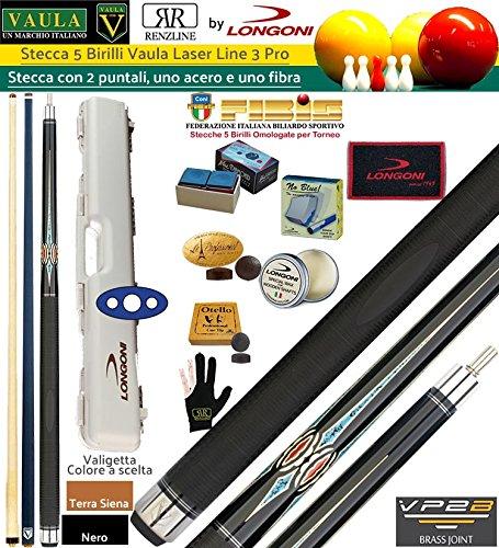 Taco billar 5 Birilli Longoni Vaula láser 3 Pro CM.141,5, piel o mm.12,