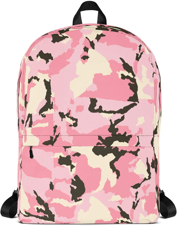 RICKIA Camo Casual School Backpack Pink