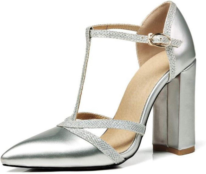 Damen High Heel Sandalen Fashion Bling T-Strap Schnalle Sommer Sexy Spitze Party Sandalen, Silber (Silber), 37 EU