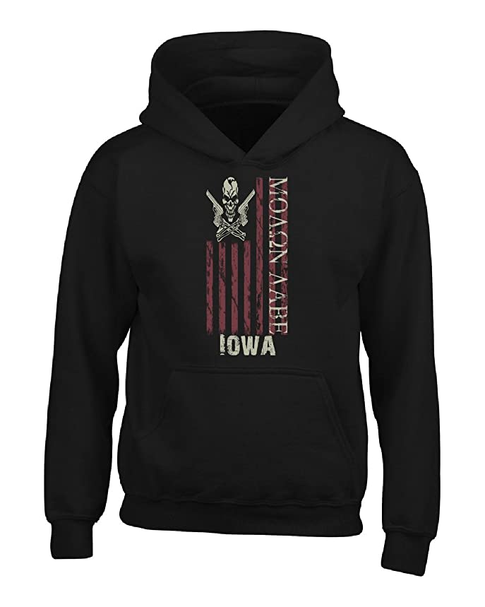Iowa Molon Labe American Flag Skull Guns - Adult Hoodie 3xl Black