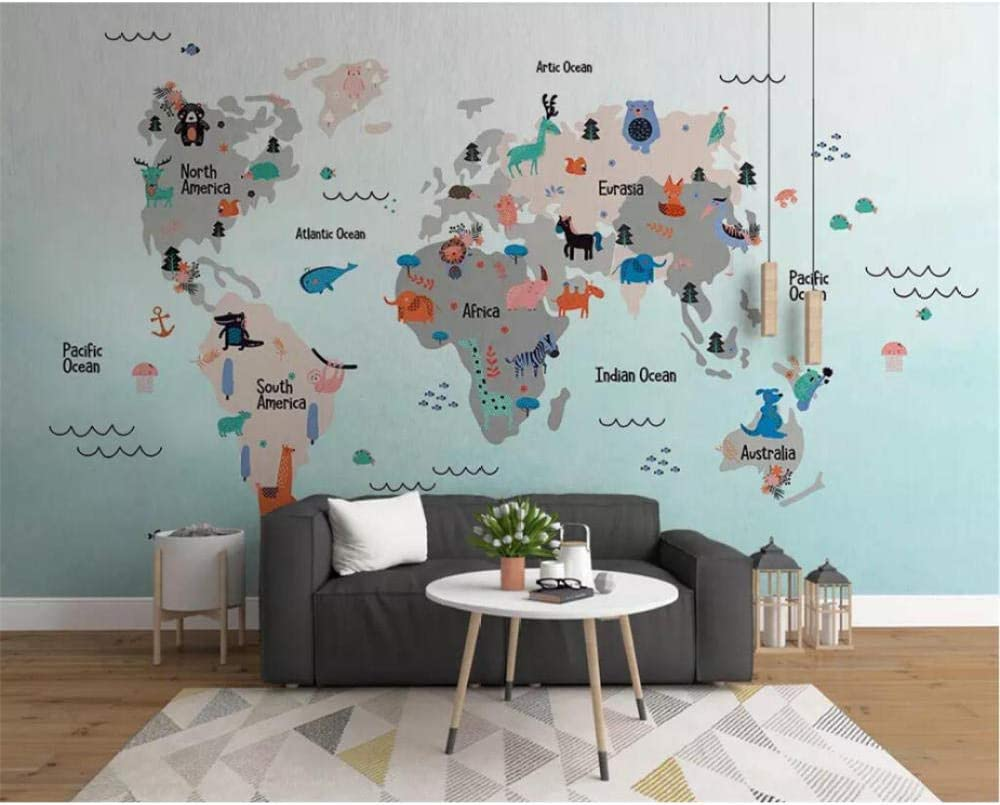 Mural Wallpaper Hand Drawn Max 58% OFF Cartoon World Children map Daily bargain sale Animal Roo