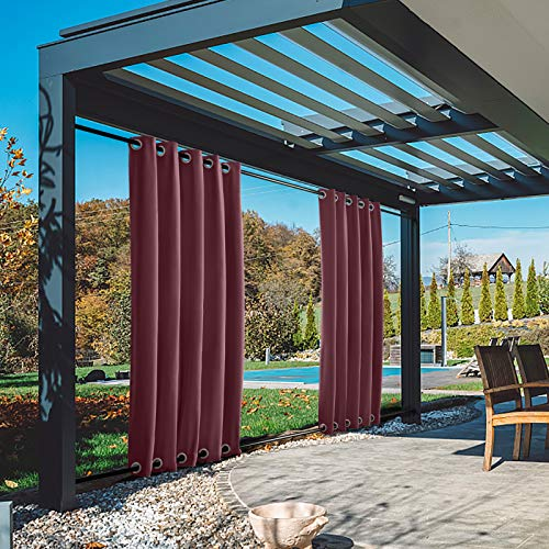 TWOPAGES 84W x 84L Burgundy Thermal Insulated Outdoor Curtain with Grommet on Top and Bottom, Windproof Light Reducing Curtain for Patio Garden Backyard, 1 Panel