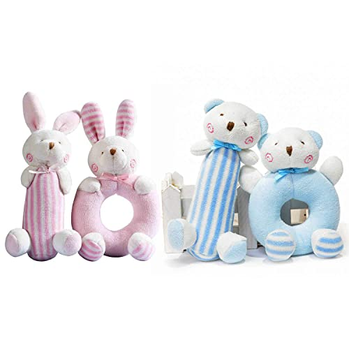 4 PCS First Birthday Gifts Ideas For One Year Old Baby Twins Animals Rattle