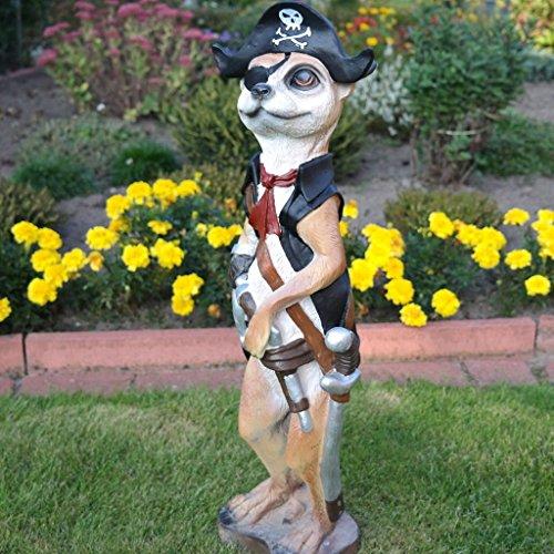 FDSt Dekofigur Erdmännchen Pirat Kapitän Maritim Gartenfigur Dekoration Gartenteich