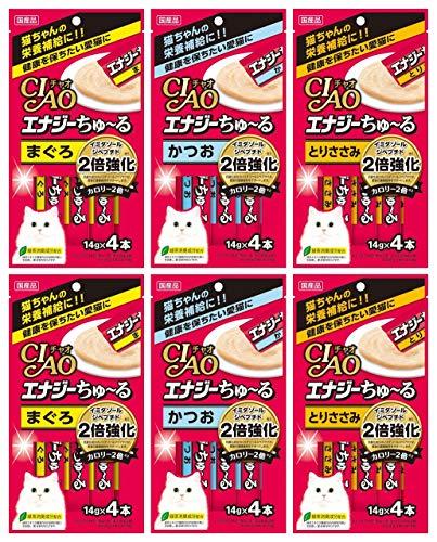 いなば 猫用おやつ チャオ エナジー ちゅ~る (まぐろ かつお とりささみ) 14g×4本入 各2袋セット