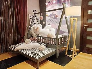 Hyggelia Lit TIPI House en Bois et deuxième lit, avec barrières, lit pour Enfants, pour Adolescents, lit Cottage, Peint (7...