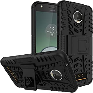 Moto Z Play Droid Case,Yiakeng Shockproof Impact Protection Tough Rugged Dual Layer Protective Case Cover with Kickstand for Motorola Moto Z Play Droid (Black)