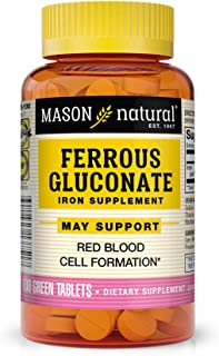 Mason Natural, Iron Ferrous Gluconate 240 Mg Tablets, 100 Count Bottle (Pack of 3), Dietary Supplement Supports Vascular a...