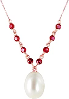 5 Carat 14k Solid Rose Gold Necklace with Rubies and Freshwater-Cultured Pearl Pendant