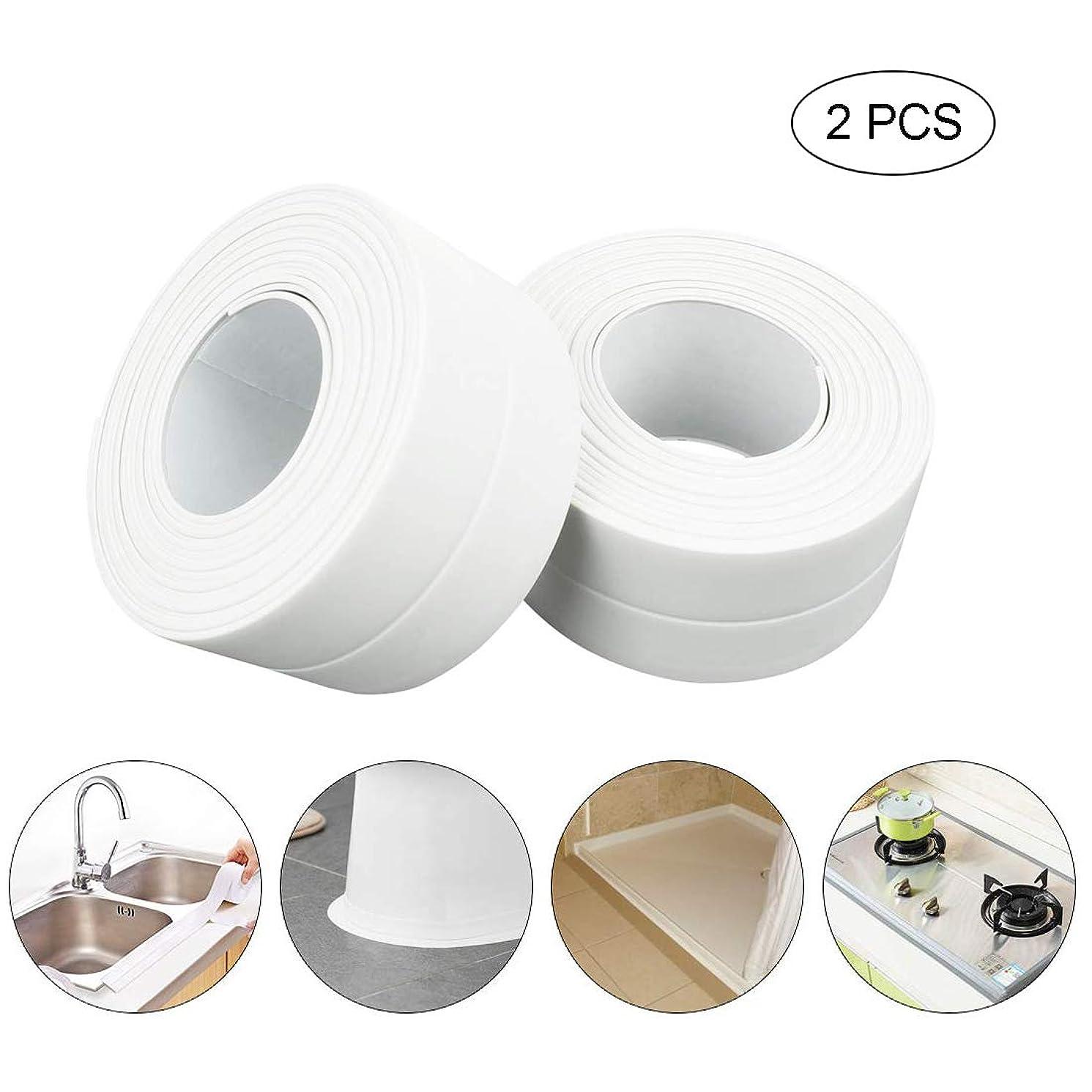 Amatted Waterproof Sealing Strip, Caulk Strip Self Adhesive Corner line Tape Strip Sealing Tape for Bathtub Sink Wall Anti-Mildew Tub Sealer Decorative (2 PCS)