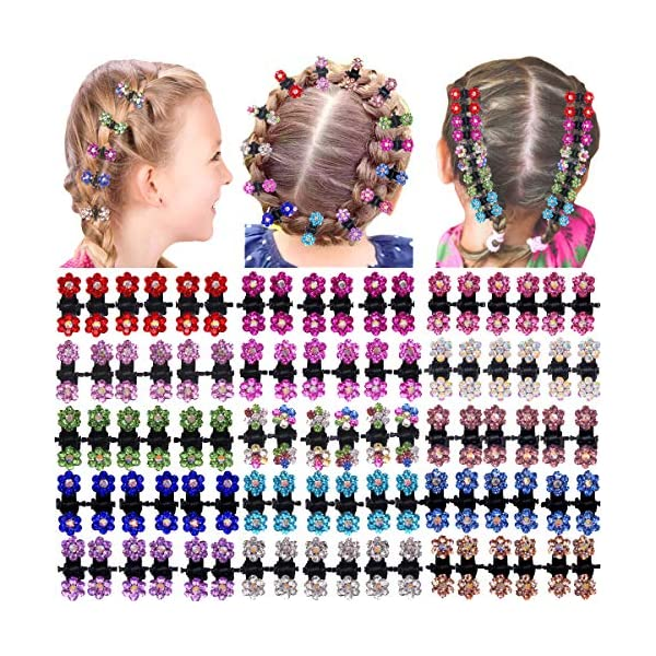 Beauty Shopping 90 Pieces Baby Girls Hair Claw Clips Crystal Rhinestones Tiny Hair Clips mix Colored