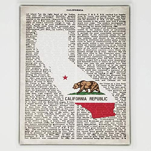 California Flag Canvas Wall Decor - 8x10 Decorative CA State Map Silhouette Encyclopedia Art Print - Ready To Hang - Home State Love Handmade Gifts - California Republic Decorations