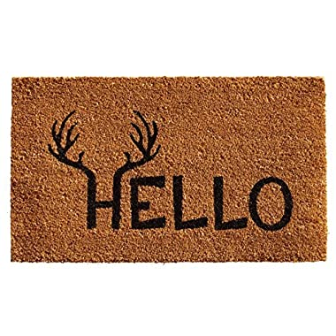 Home & More 121711729 Antler Hello Doormat, 17  x 29  x 0.60 , Natural/Black