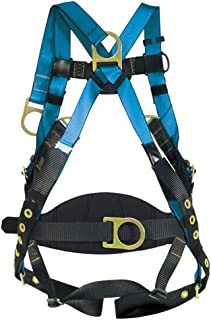 Tractel FFF4S/WP Derrick Harness with Extended, Frontal D-Rings, Sewn 4-Foot Restraint Lanyard, Front Pad, Tongue and Buckle Legs, Small, Blue/Black