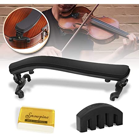 EXJOY Violin Shoulder Rest Collapsible and Adjustable for Full Size or 21 Inches with Practice Mute and Sticker Extra Thick for Beginners and Professionals