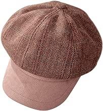 LENXH Women's Cap Casual Navy Hat Plaid Hat Fashion Flat Top Hat Retro Sun Hat Simple Hat