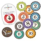 Baby Steps Book Original Stick'Nsnap(TM) 12 Unisex Happy Colors (TM) 3.25'' milestones First Year Monthly Growth Stickers.