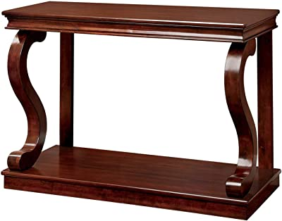 Amazon.com: Hermosa mesa de sofá en acabado cerezo con patas ...