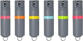 POM White Pepper Spray Keychain Model - Maximum Strength Self Defense OC Spray Safety Flip Top 10ft Range Compact Discreet for Keys Backpack Quick Key Release (Grey)