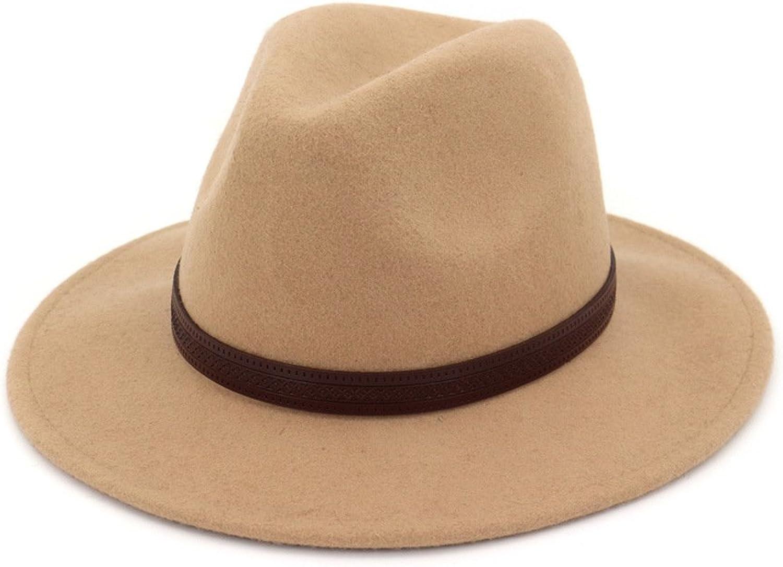 Ruiyue Jazz Hat, Wide Brim Wool Felt Bowler Fedoras Hats Floppy Capmens Pure color Wool Hat for Men Women