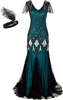 MAYEVER Women 1920s Long Prom Gown Beaded Sequin Mermaid Hem Ball Evening Dress with Sleeve Headband Free