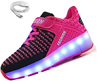 Ehauuo Kids USB Charging Wheel Shoes with Lights LED Roller Skate Shoes Sneakers for Unisex Child Girls Boys Beginners Gift