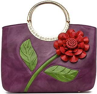 ETH Classic Retro National Wind Roses Hit Color Three-dimensional High-capacity Bag Handmade Bag (33 * 11 * 24CM) Hand Bag (Color : Purple)