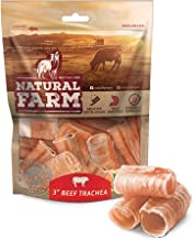 Natural Farm 3-Inch Beef Trachea (12-Pack) Natural Beef Dog Treats | Farm-Raised, Grain-Free, Odor-Free | Fully Digestible Chews | Small, Medium, Large Breeds