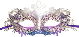 Fellibay Girls Masquerade Mask Venetian Filigree Mask Laser Cut Metal Masquerade for Halloween Costume Party