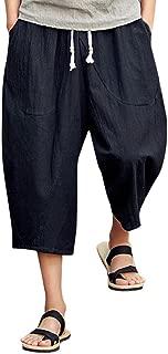 Cotton Linen Wide Leg Pants Breathable Casual Baggy Long Shorts