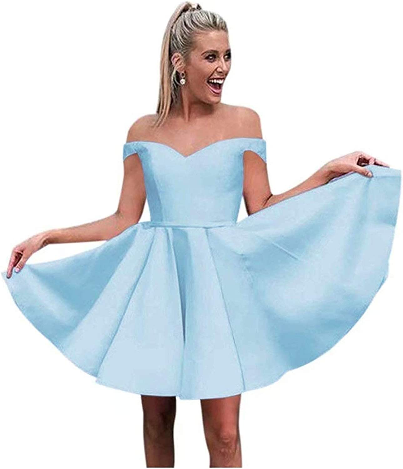 Gricharim Off Shoulder Homecoming Dresses 2019 Short Satin A-Line Prom Party Gowns