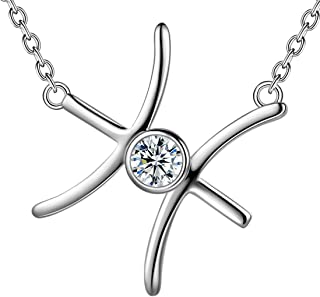 Zodiac Sign Necklace Horoscope 925 Sterling Silver Women Sideway Constellation Pendant Astrology Jewelry Crystal Cubic Zirconia Birthday Gift DP0177