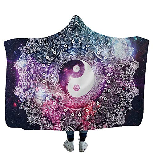 Diligencer HoodedBlanket Wearable Religion Zen Buddha Mandala Idol Cape Cloak Thicken Sherpa Fleece Soft Fluffy Novelty Blanket for Household Sofa Lounge Bed Napping Blankets Childs Adults