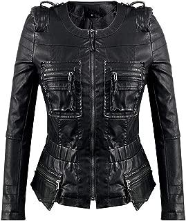 DISSA PWA18 Women Faux Leather Bomber Jacket Slim Coat Leather Jacket