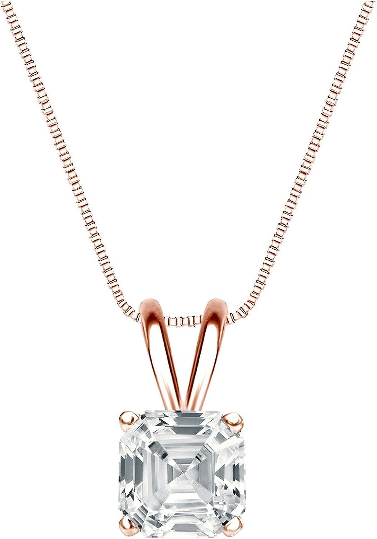 Charlotte Mall Max 80% OFF 14k Rose Gold 4-Prong Basket Penda Asscher-Cut Solitaire Diamond