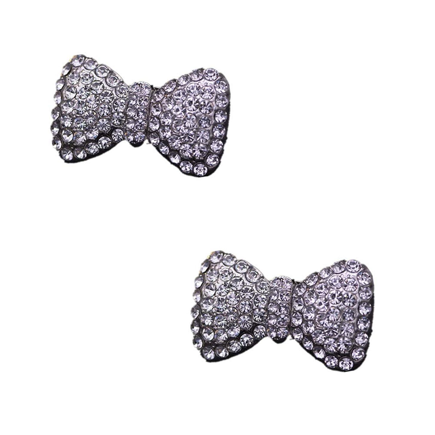 Douqu Rhinestone Crystal Pearl Silver Gold Bow Wedding Bridal High Heel Shoe Clips Removable Shoe Charms-2 Pcs (Silver Rhinestone)