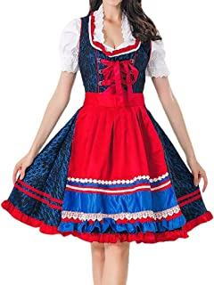 Women Bandage Lace Dress + Apron + Top 3 Pieces Carnival Bavarian Oktoberfest Cosplay Costumes Beer Festival