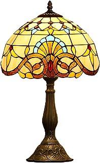DWW 19 Pouces De Hauteur De Style Tiffany Lampes Grand Baroque Table Bureau Lumière avec Vitrail Lumière Ombre Et Résine C...