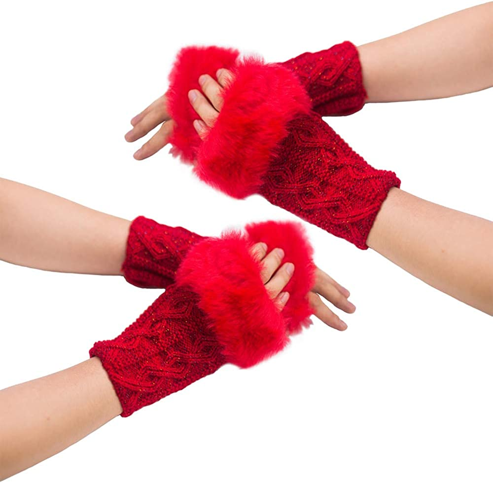 2 Pairs Women Fuzzy Crochet Fingerless Gloves with Faux Fur Cuffs Wrist Warmer