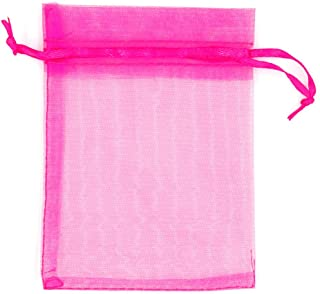 ATCG 50pcs 8x12 Inches Large Drawstring Organza Bags Decoration Festival Wedding Party Favor Gift Candy Toys Makeup Pouches (Hot Pink)