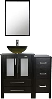 eclife 36'' Bathroom Vanity Sink Combo Black W/Side Cabinet Vanity Round Tempered Glass Vessel Sink & 1.5 GPM Water Save Faucet & Solid Brass Pop Up Drain, With Mirror (A12B11)