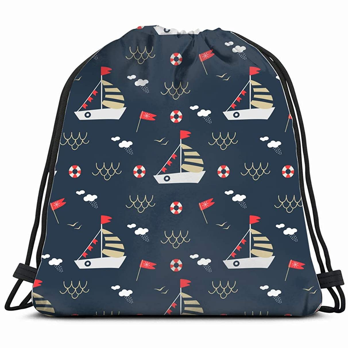 seamless pattern nautical style sailboat backgrounds textures anchor vintage Drawstring Backpack Gym Spacious Pull String Backpack Multifunctional storage bag 14.2 x 16.9 inch