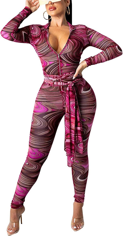 bluewolfsea Women Sexy See Through Mesh Printed Long Sleeve Zipper Bodycon Jumpsuit Romper Party Clubwear