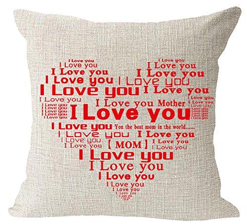 Feliz día de la madre regalo I Love You mamá Corazón rojo manta de lino y algodón cuadrado Funda para cojín de cintura funda de almohada decorativa funda de almohada de sofá 18x 18pulgadas