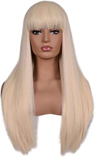 Morvally Women's 26 inches Long Straight Blonde Synthetic Resistant Hair Wigs with Bangs Natural Looking Wig for Women Halloween Cosplay (Blonde)