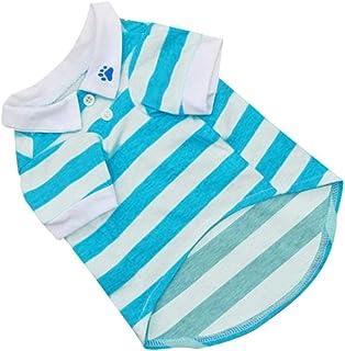 a27df707a9e704 Pet Dog T-Shirt Clothes Lapel Stripe Puppy Summer Apparel