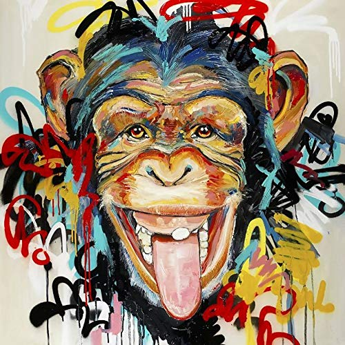 N / A Monkey Graffiti Art Canvas Posters And Prints Street Art Canvas Wall Animal Pictures Frameless 60x60cm
