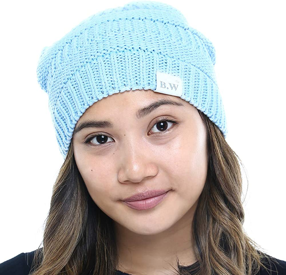Beautifully Warm Women's 5 popular Winter Complete Free Shipping Beanie Hat Slouchy Satin