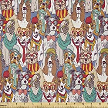 Ambesonne Dog Fabric by The Yard, Hipster Bulldog Schnauzer Pug Breeds Glasses Hats Scarf Pattern Colorful Cartoon, Stretch Knit Fabric for Clothing Sewing and Arts Crafts, 3 Yards, Teal Brown