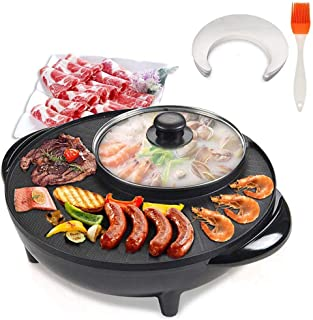 Electric Barbecue Grill with Hotpot 10Pcs Barbecue Papers and a Silicone Brushof Indoor Non-Stick Smokeless Grill Roasting...